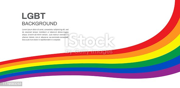 Rainbow flag. LGBT pride flag movement on white background. Vector illustration