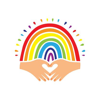 Rainbow flag, Pride logo, Hand-drawn rainbow and heart-shaped hands. Pride flag, LGBT movement emblem, Love emblem. Vector illustration