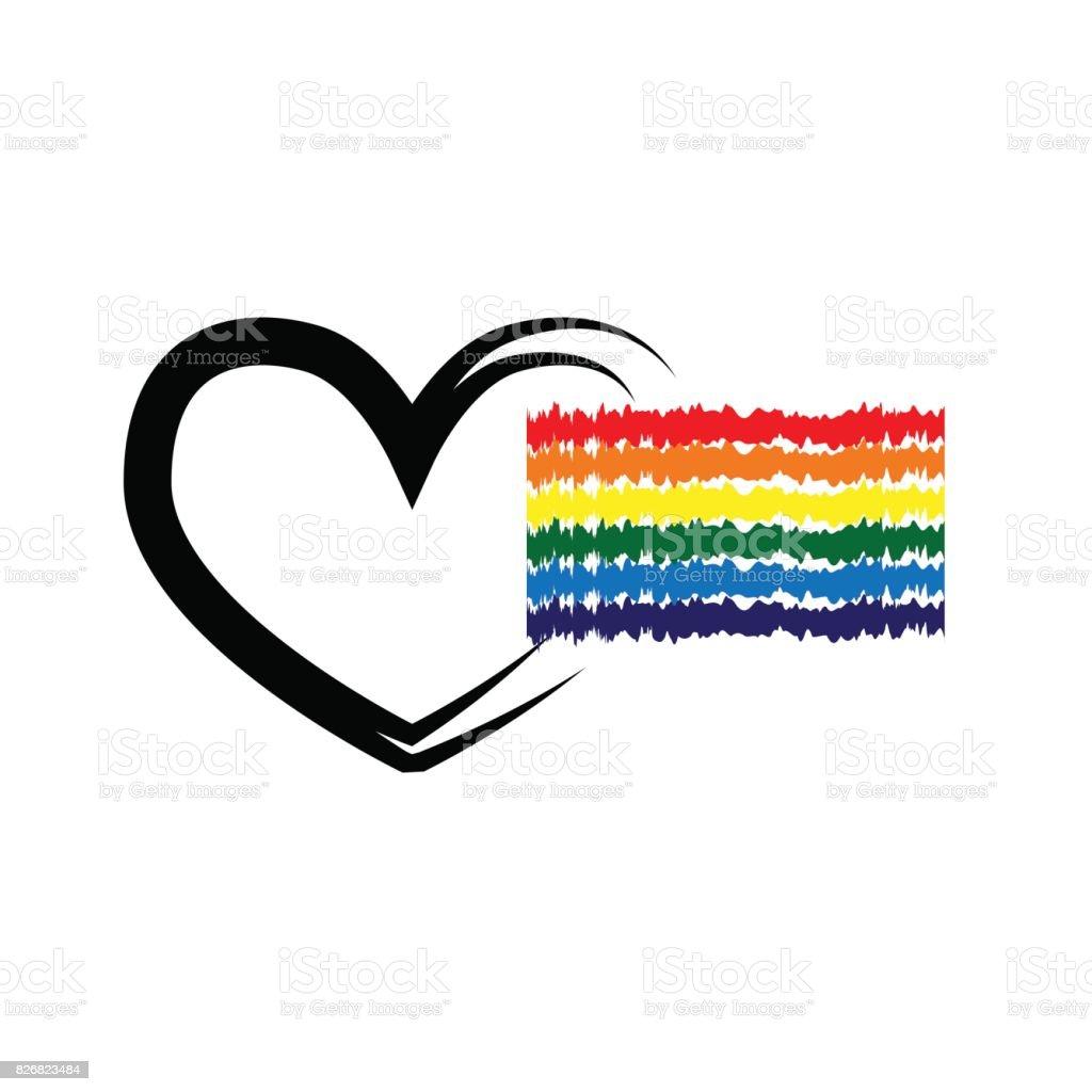 Bandera del arco iris LGBT, el contorno del corazón. Cepillo borroso. - ilustración de arte vectorial