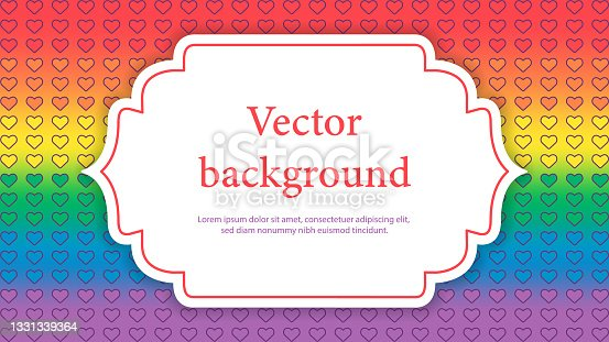 istock Rainbow flag with place for text. Romantic cute background. Symbol of LGBTQI 1331339364