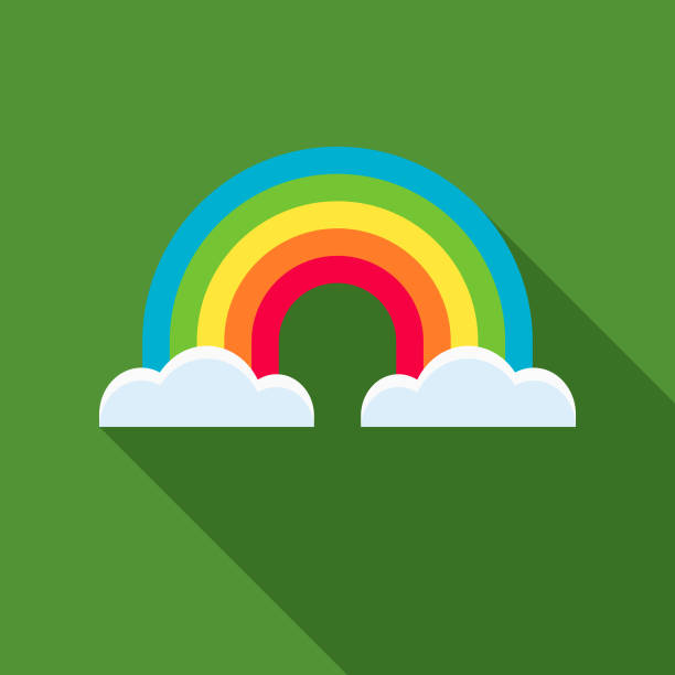 Rainbow Flat Design St. Patrick's Day Icon A flat design styled romance and Saint Patrick's Day icon with a long side shadow. Color swatches are global so it's easy to edit and change the colors. rainbow stock illustrations