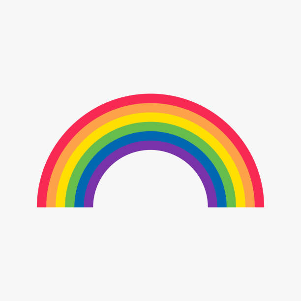rainbow flat icon - tęcza stock illustrations