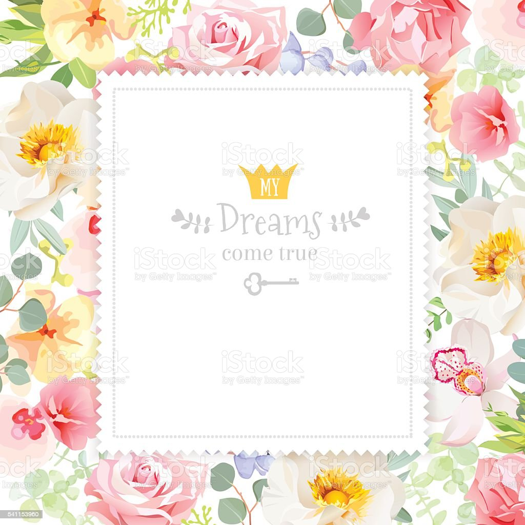 Rainbow Floral Square Vector Design Frame Stock Vector Art More