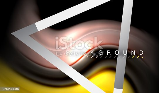 856252302istockphoto Rainbow fluid colors wave and metallic geometric shape 970236636