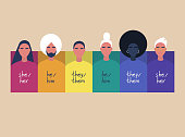 A rainbow frame with portraits of young people, wearing sweaters with their gender pronouns - she, he, them