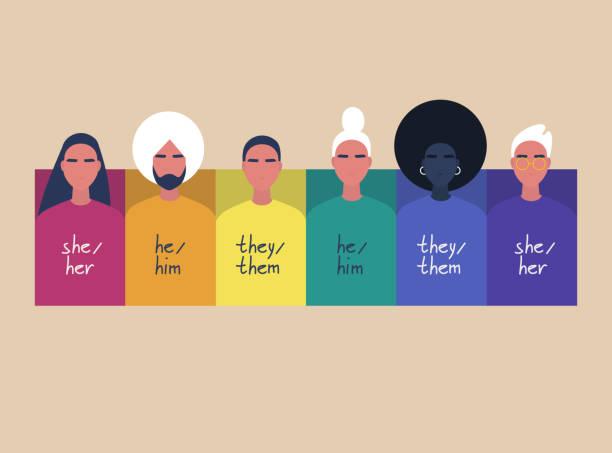Een regenboog frame met portretten van jonge mensen, het dragen van truien met hun geslachts voornaamwoorden-zij, hij, zevectorkunst illustratie