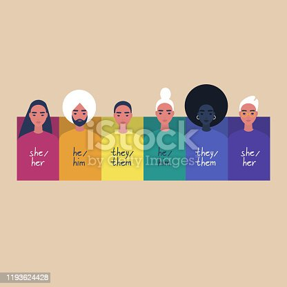 istock A rainbow frame with portraits of young people, wearing sweaters with their gender pronouns - she, he, them 1193624428