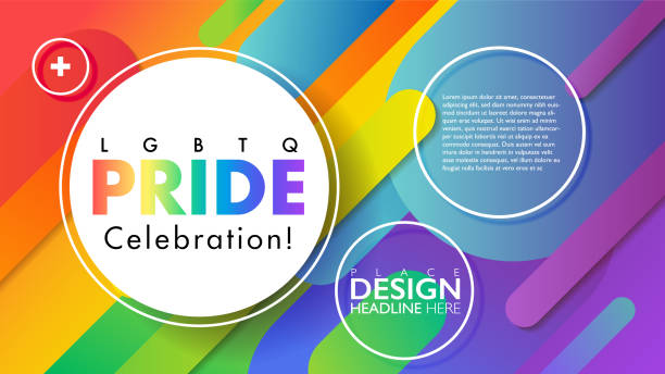 Rainbow geometric round objects abstract background. Colorful LGBTQ pride celebration banner. Abstract background. Rainbow PRIDE icon. Banner illustration for design element use. Vector illustration template. gay person stock illustrations