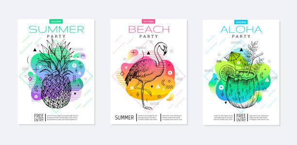 regenbogen geometrischen stil. disco fluid lichtkunst. bunte prisma sommer plakat festgelegt. amöbe trendige hintergrund. realistische tropischen ananas, flamingo, kokosnuss drink für t-shirt drucken, musik banner auf weiß - hochschulgetränke stock-grafiken, -clipart, -cartoons und -symbole