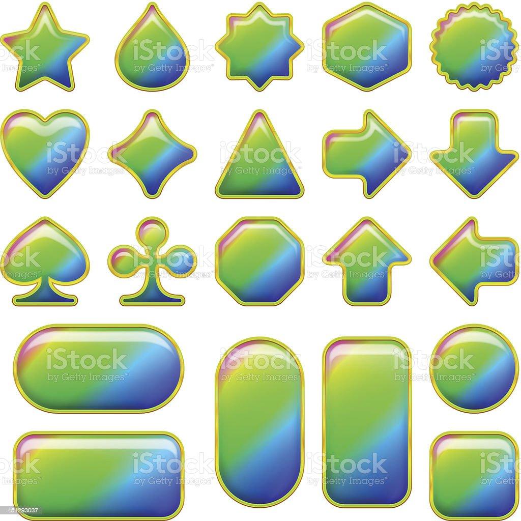Rainbow glass buttons, set royalty-free stock vector art