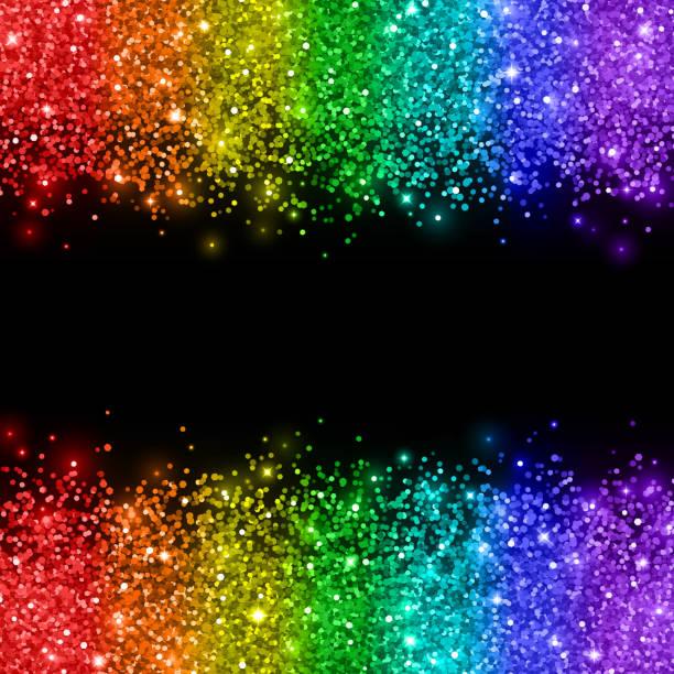 rainbow glitter on black background. vector - rainbow glitter background stock illustrations, clip art, cartoons, & icons