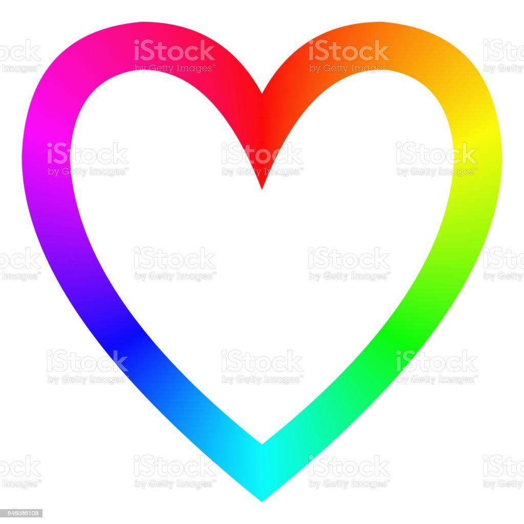 Regenbogen Farbverlauf Frohes Herz Symbol Vorlage Stock Vektor Art ...
