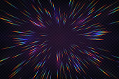 istock Rainbow halo rays isolated on dark transparent background. Holographic lens flare reflections. Vector realistic illustration of prism radial refraction sunbeams 1314708886