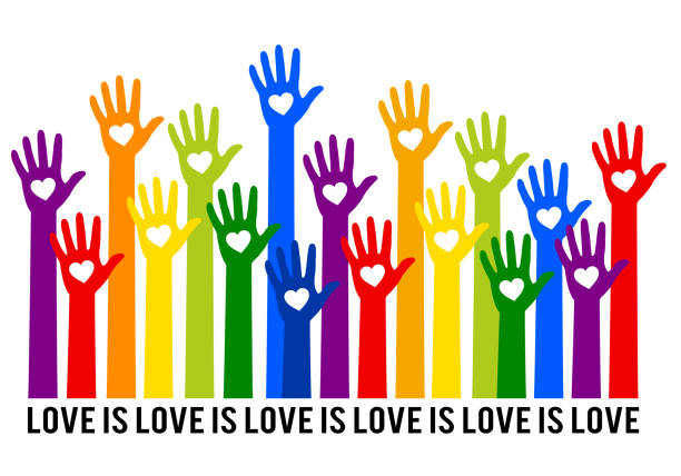 Rainbow hands with hearts, love is love, vector illustration Rainbow hands with hearts, love is love, lgbt, gender equality, vector background pride stock illustrations