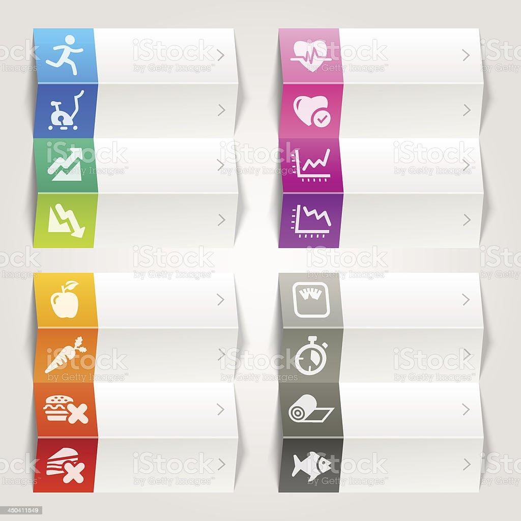 Rainbow - Health and Fitness icons / Navigation template royalty-free rainbow health and fitness icons navigation template stock vector art & more images of aerobics
