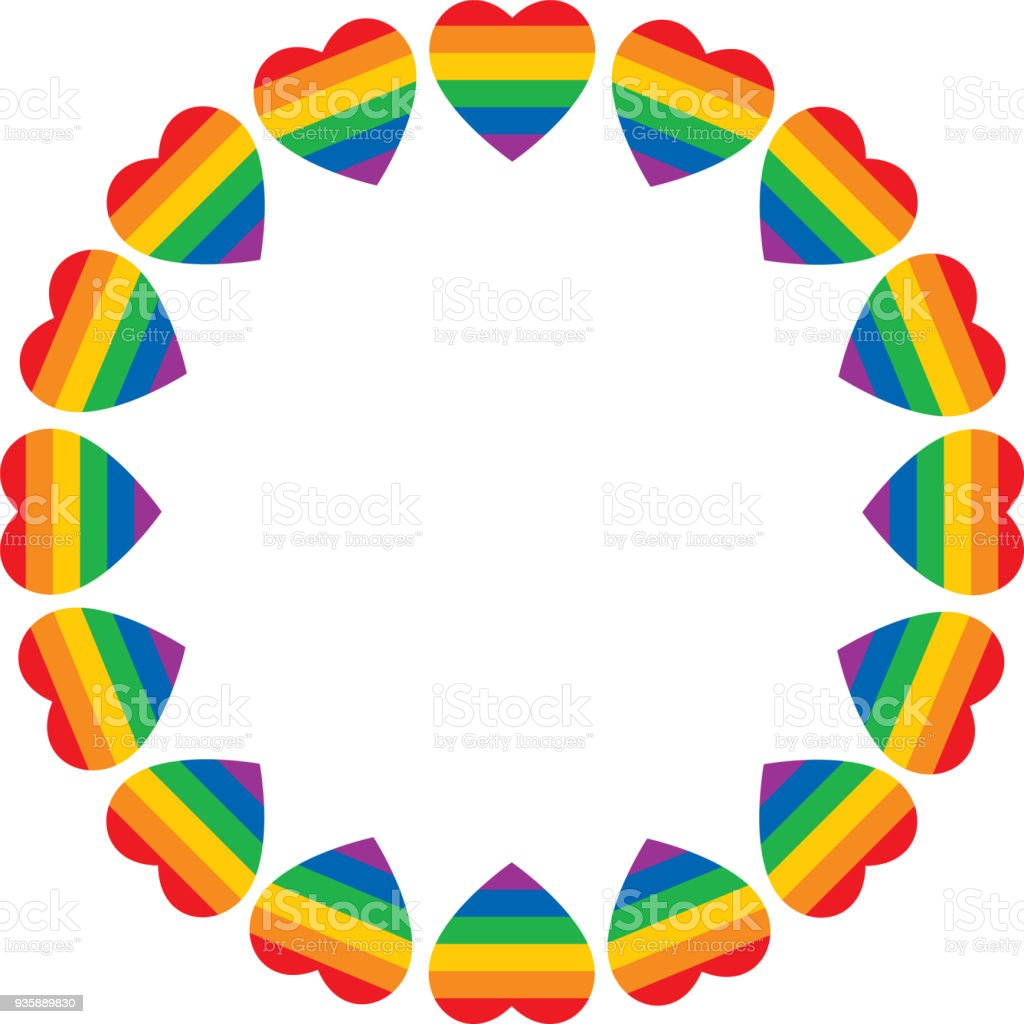 Rainbow Heart Frame Stock Vector Art & More Images of Award ...