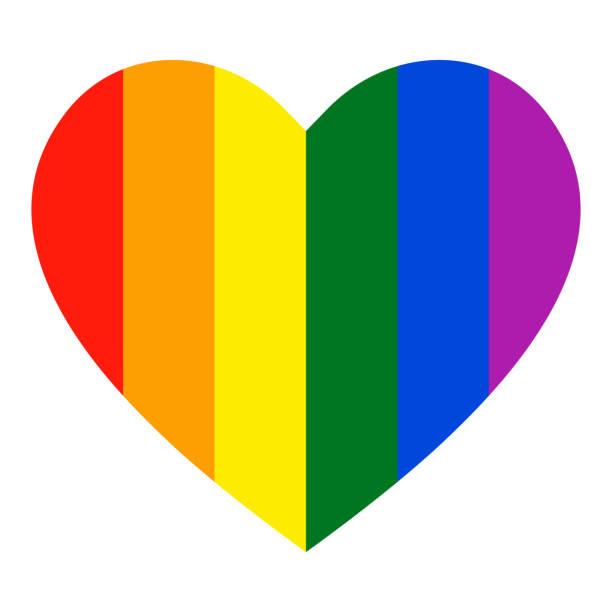 stockillustraties, clipart, cartoons en iconen met regenboog hart pictogram. lgbt vlag, symbool. - lgbt flag