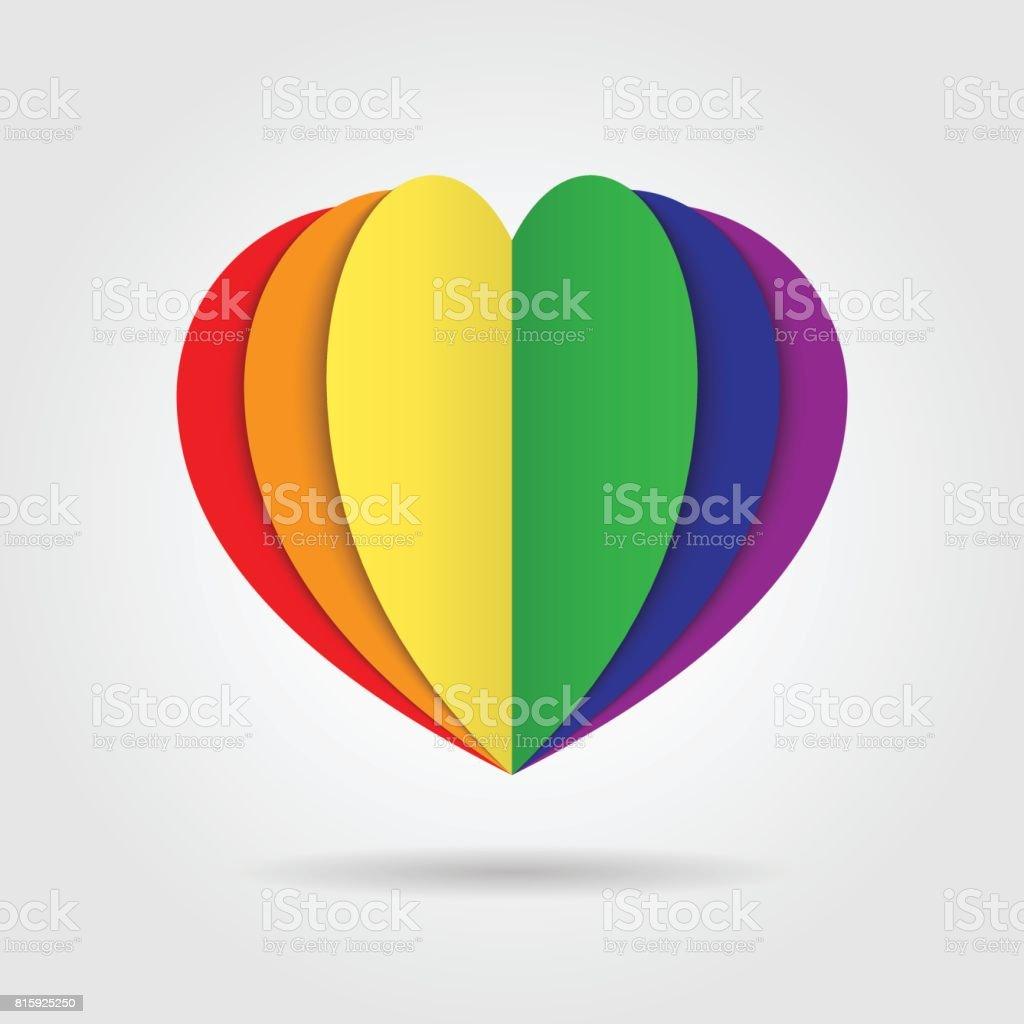 Rainbow heart icon  on white background vector art illustration