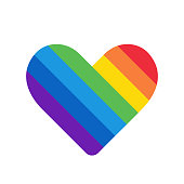 Rainbow heart, simple icon with colrful strips, vector illustration isolated on white background
