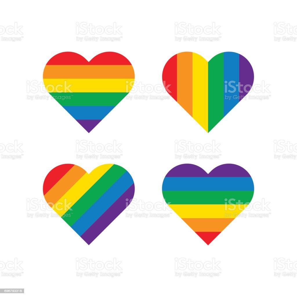Rainbow Heart Shape vector art illustration