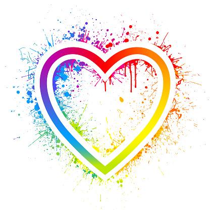 Rainbow heart splash