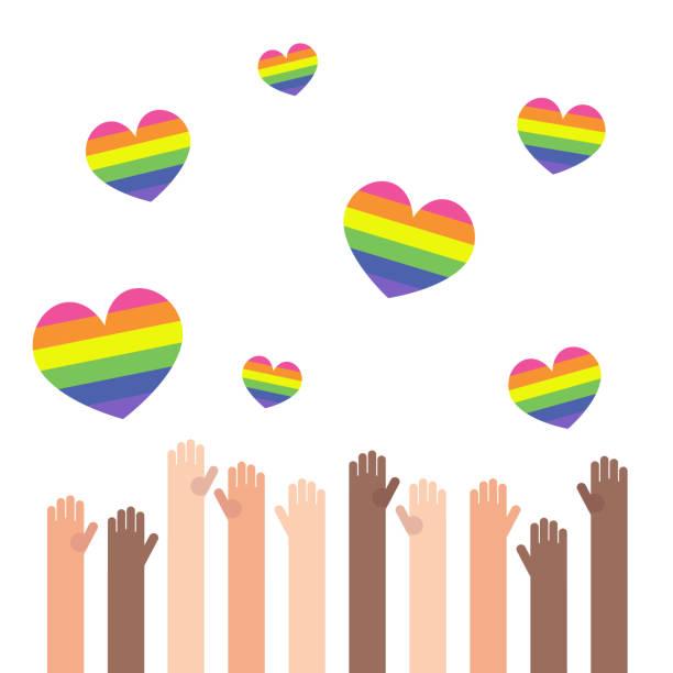 LGBT rainbow hearts. Celebrating gay people rights. Same-sex love. Pride. Flat editable vector illustration, clip art LGBT rainbow hearts. Celebrating gay people rights. Same-sex love. Pride. Flat editable vector illustration, clip art african american valentine stock illustrations