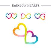 Rainbow hearts vector symbols.