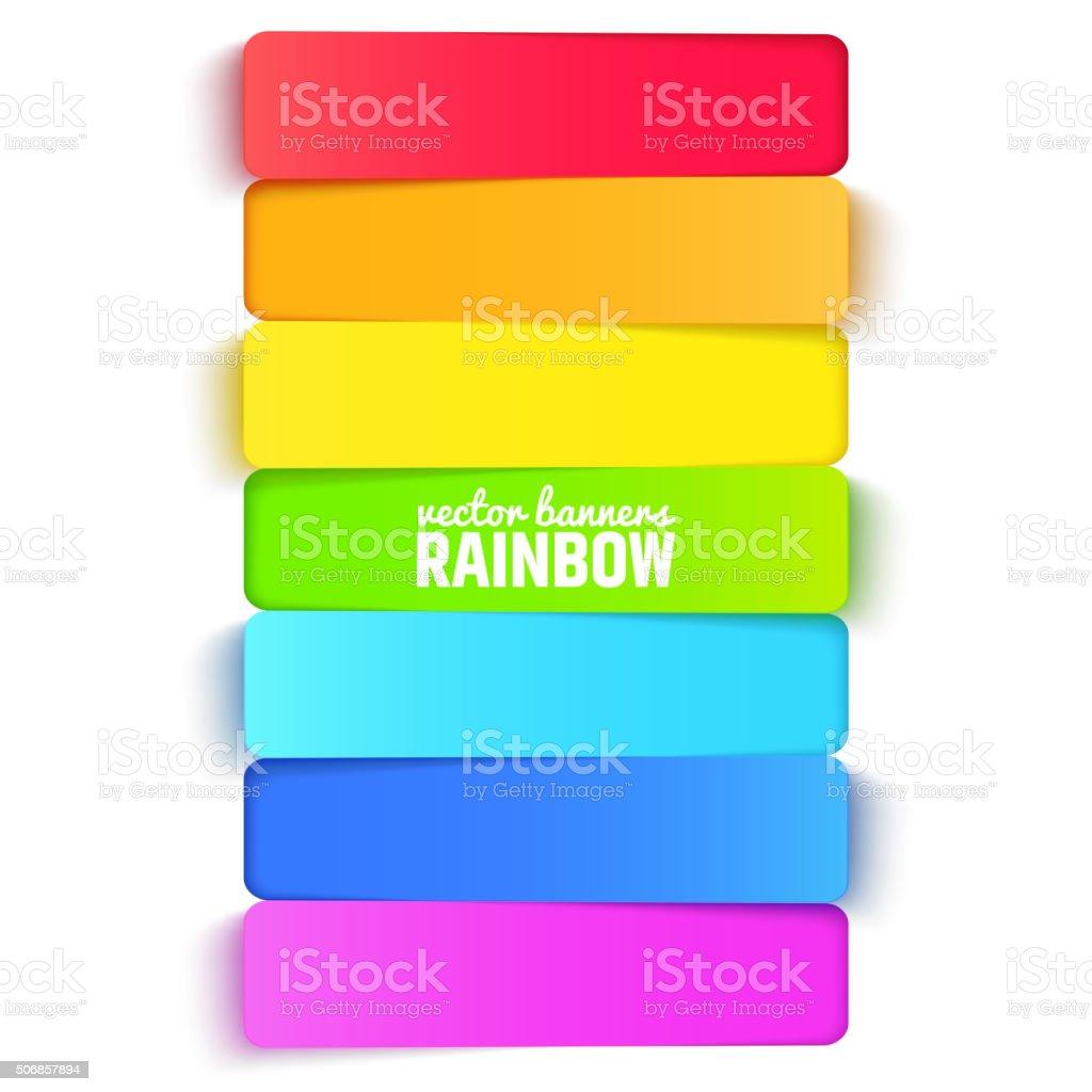 Regenbogen horizontale Banner farbigen Hintergrund. Vektor-illustration für Präsentationen und Broschüren – Vektorgrafik