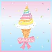 rainbow ice-cream birthday card