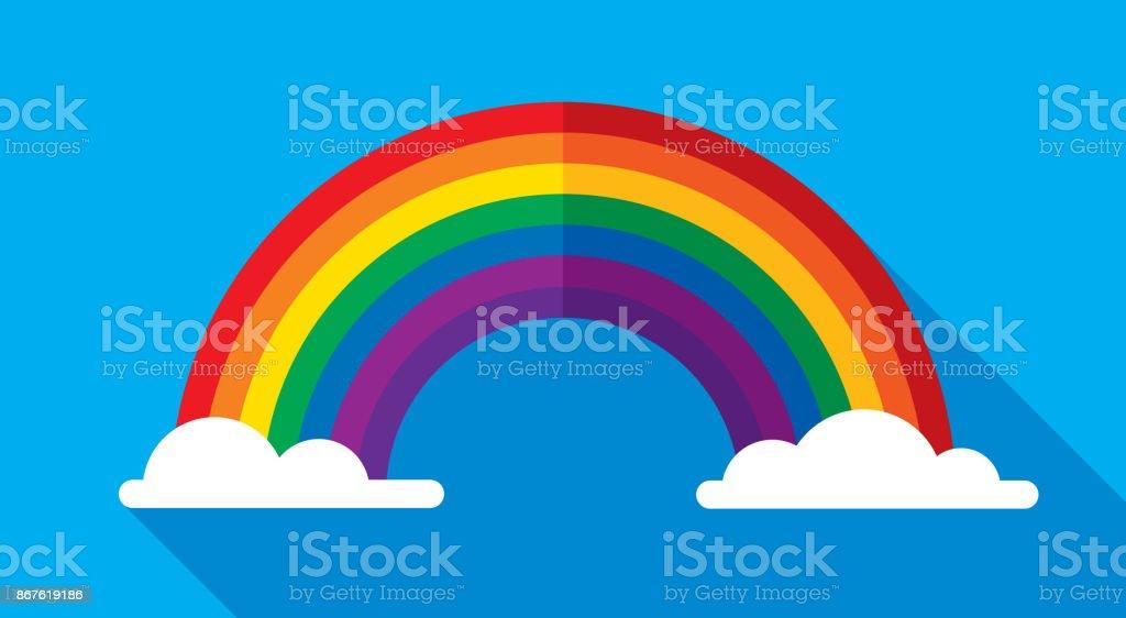 Icono de arco iris plano - ilustración de arte vectorial