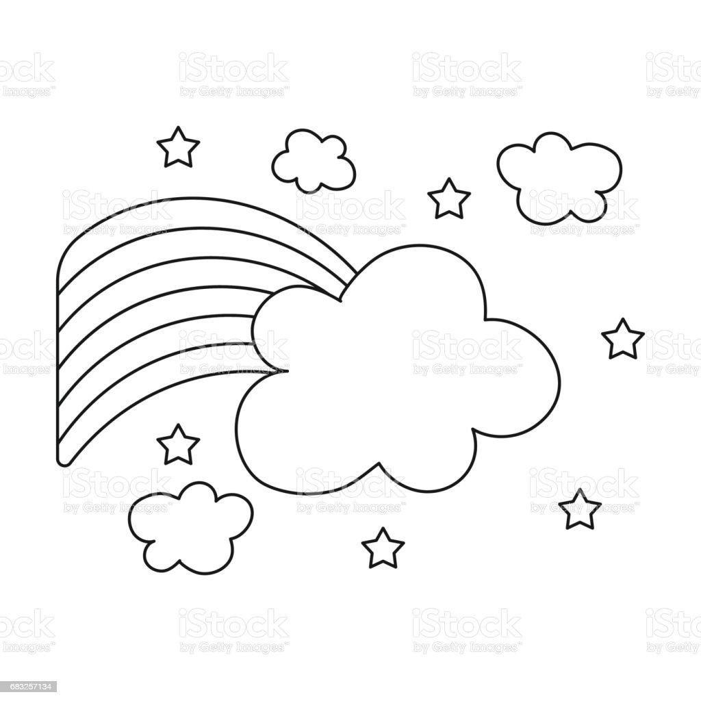 Rainbow icon in outline style isolated on white background. Gay symbol stock vector illustration. rainbow icon in outline style isolated on white background gay symbol stock vector illustration - arte vetorial de stock e mais imagens de amarelo royalty-free
