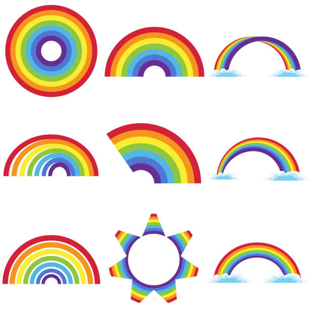rainbow icon - tęcza stock illustrations