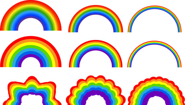 stockillustraties, clipart, cartoons en iconen met regenboog illustratie set - regenboog