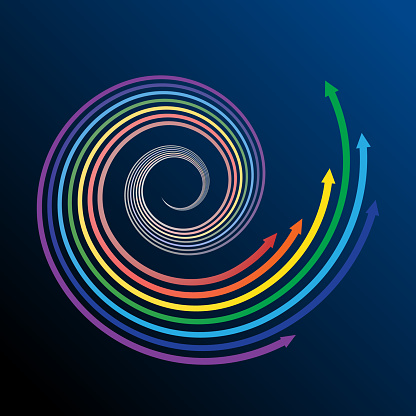 Rainbow in spiral with arrows.