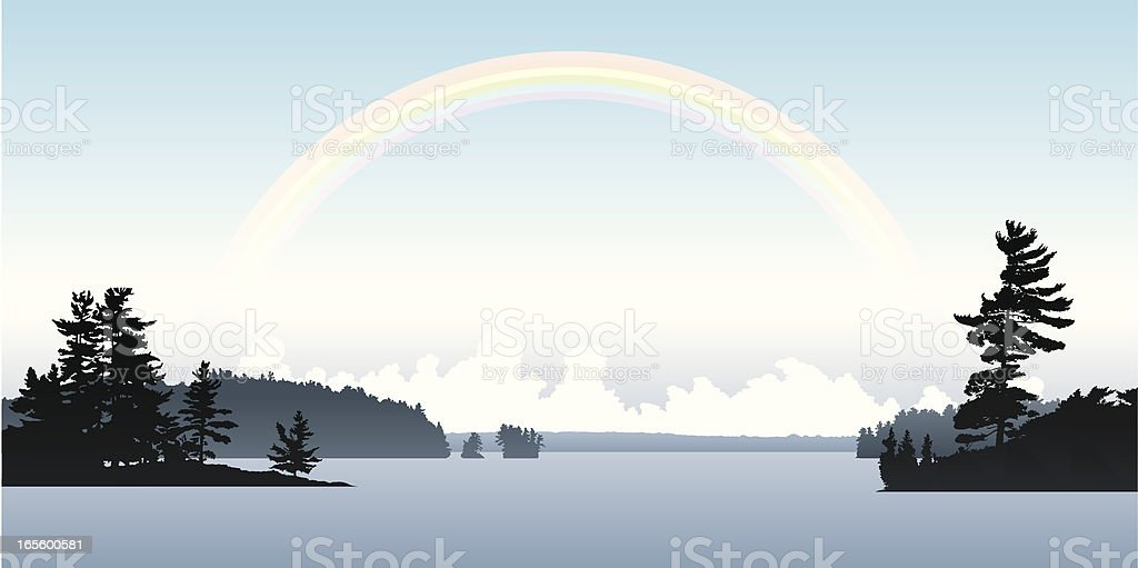 Rainbow Lake vector art illustration