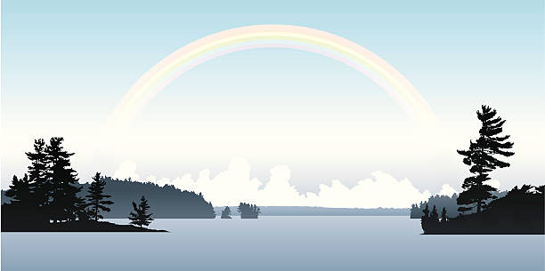 Rainbow Lake Soft rainbow above a northern Ontario lake. lakeshore stock illustrations
