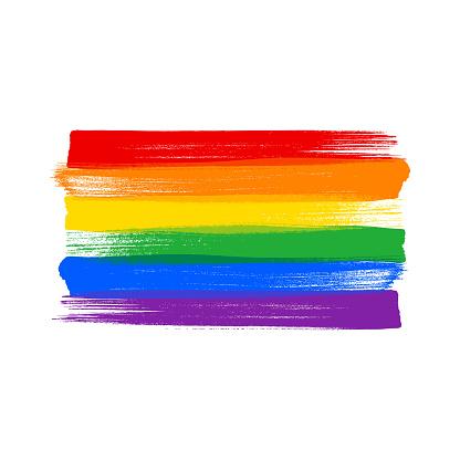 Rainbow LGBT flag - paint style vector illustration.