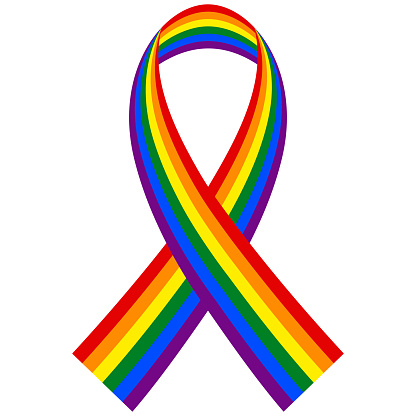 Rainbow LGBT ribbon, vector symbol and flag in form of a folded ribbon supporting the LGBT pride community