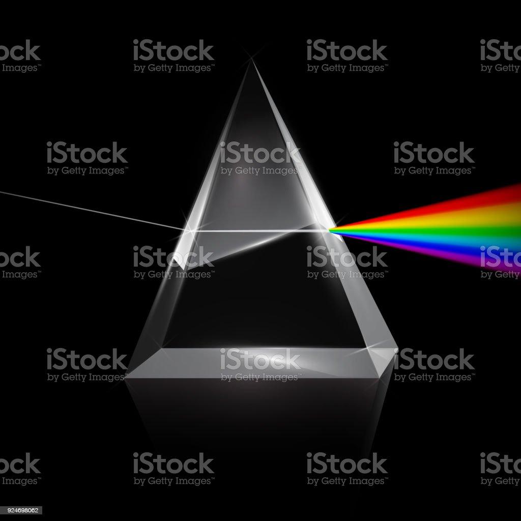 Rainbow Light Trough Prism vector art illustration
