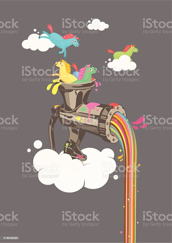 Rainbow Machine vector art illustration