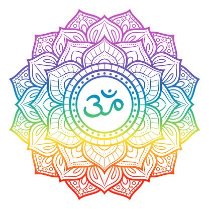 Rainbow Mandala Sahasrara Crown Chakra Symbol Decorative ...