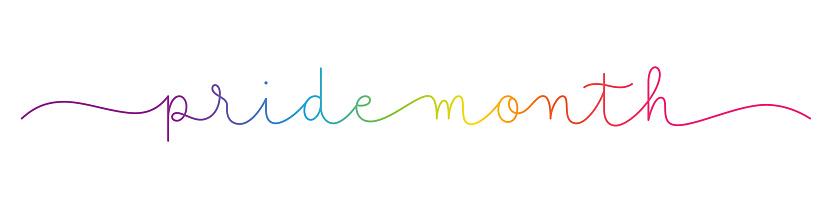 PRIDE MONTH rainbow monoline calligraphy banner