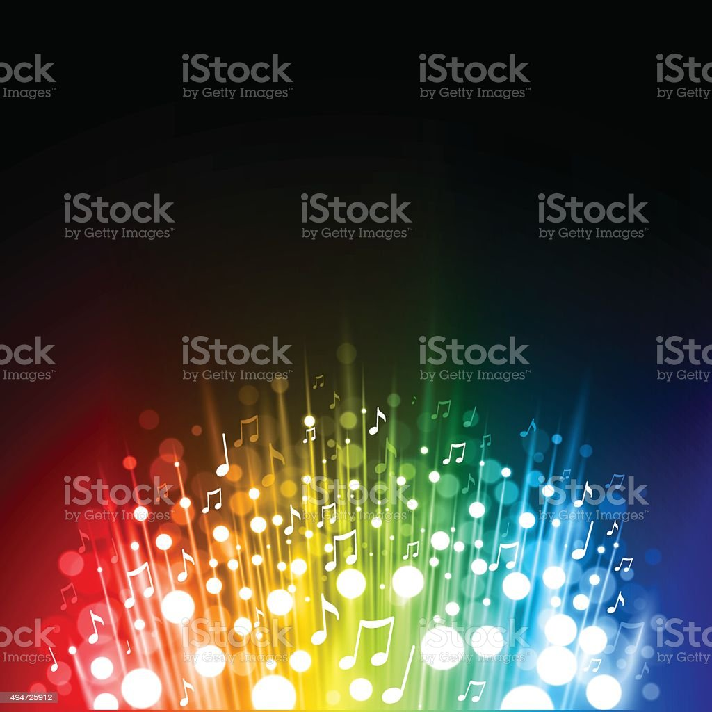 Rainbow music background vector art illustration