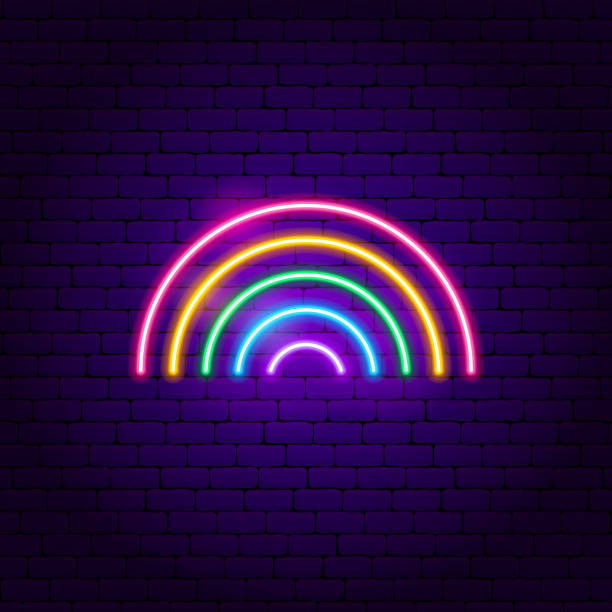 Rainbow Neon Sign Rainbow Neon Sign. Vector Illustration of Fashion Promotion. gay person stock illustrations