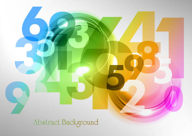 rainbow numbers - math class stock illustrations, clip art, cartoons, & icons