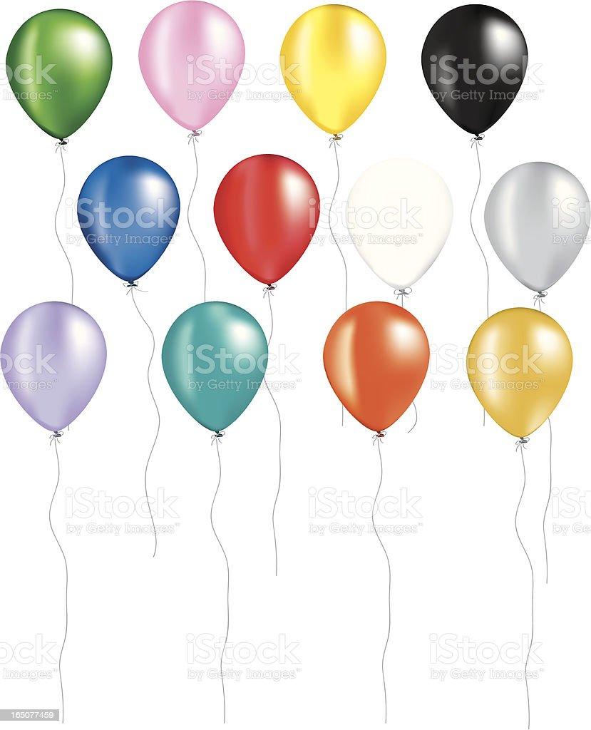 Rainbow of balloons vector art illustration