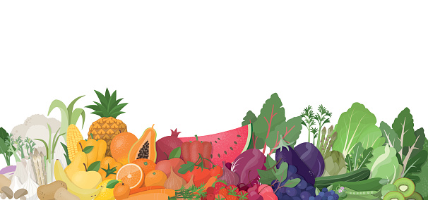 Rainbow of fruit and vegetables