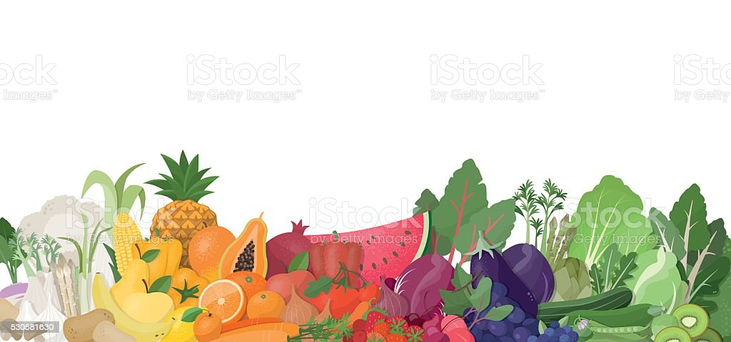 Rainbow of fruit and vegetables vector art illustration