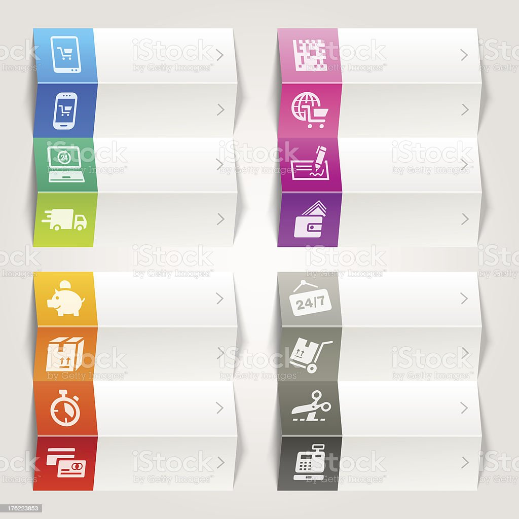 Rainbow - Online Shopping icons / Navigation template royalty-free stock vector art