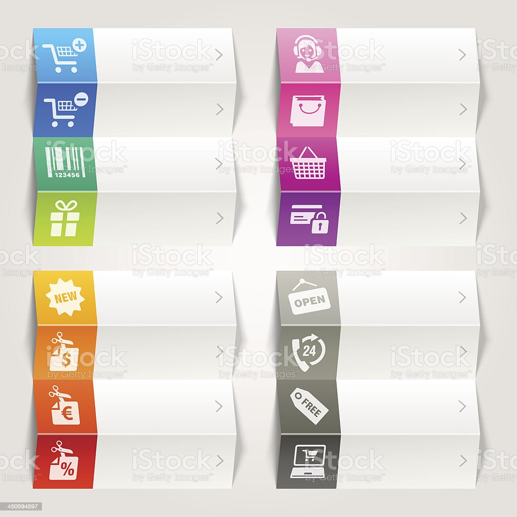 Rainbow - Online Shopping icons / Navigation template vector art illustration